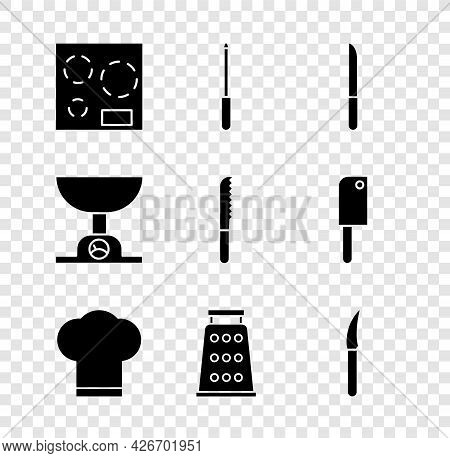 Set Electric Stove, Knife Sharpener, Chef Hat, Grater, Electronic Scales And Bread Knife Icon. Vecto