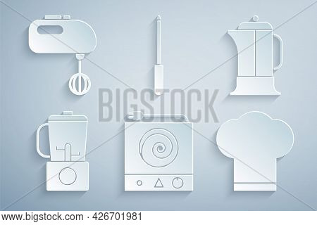 Set Electric Stove, French Press, Blender, Chef Hat, Knife Sharpener And Mixer Icon. Vector