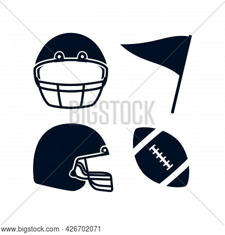 American Football Rugby Helmet Front And Side View, Flag, Rugby Ball Illustration Simple Icon Black