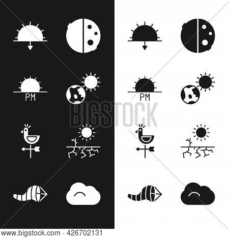 Set Earth Globe And Sun, Sunset, Eclipse Of The, Rooster Weather Vane, Drought, Cloud And Cone Meteo