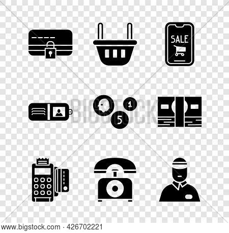 Set Credit Card With Lock, Shopping Basket, Mobile Phone And Shopping Cart, Pos Terminal Credit, Tel