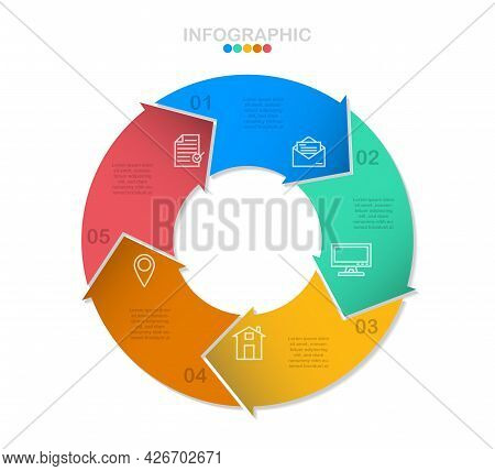 Cycle Infographic Vector, 5 Options Diagram With Line Icons, Circle Chart Infographic Template.(divi