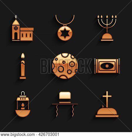 Set Moon, Orthodox Jewish Hat With Sidelocks, Tombstone Cross, Traditional Carpet, Ramadan Kareem La