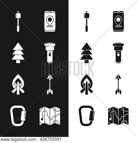 Set Flashlight, Tree, Marshmallow On Stick, City Map Navigation, Campfire, Hipster Arrow, Location O
