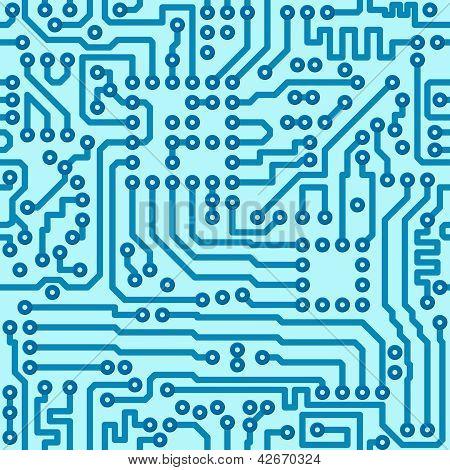 Electronic Digital Circuit Board - Seamless Vector Pattern