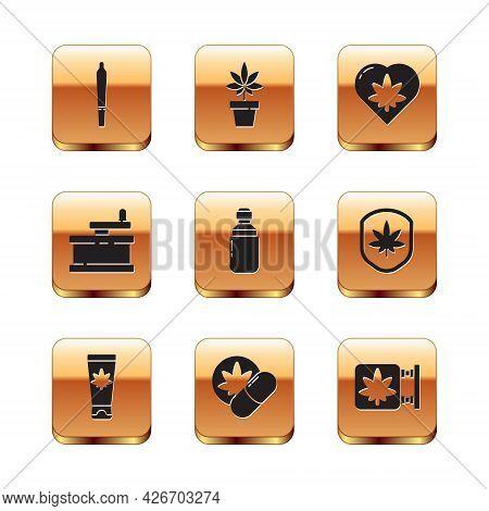 Set Marijuana Joint, Medical Cream With Marijuana, Herbal Ecstasy Tablets, Or Cannabis Olive Oil, Ma