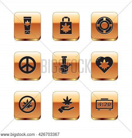 Set Medical Cream With Marijuana, Stop Or Cannabis Leaf, Marijuana, Glass Bong For Smoking, Peace, A