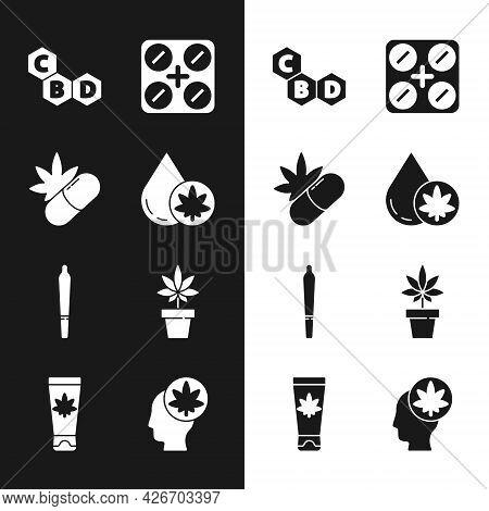 Set Marijuana Or Cannabis Olive Oil, Medical Pills With Marijuana, Cannabis Molecule, Joint, Plant,