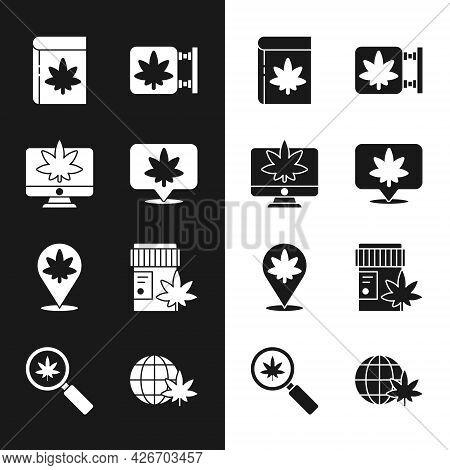Set Location And Cannabis, Monitor Marijuana Or, Book, Marijuana Store, Medical Bottle With, Legaliz