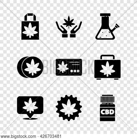 Set Shopping Paper Bag Of Marijuana, Marijuana Or Cannabis Leaf, Glass Bong For Smoking, Location An