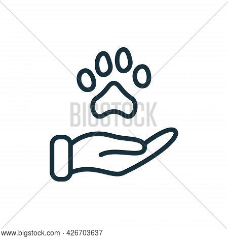 Animal Paw And Human Hand Linear Icon. Animal Donation, Care And Protection Concept. Adoption Of Pet