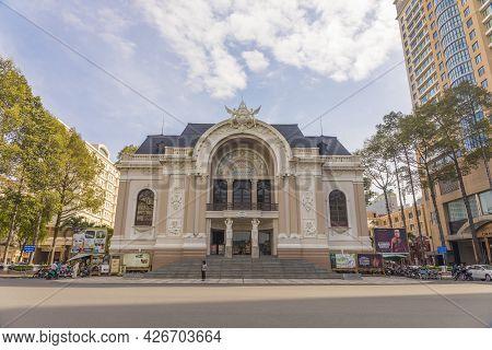 Ho Chi Minh, Vietnam - Oct 17, 2019 : Municipal Theatre Or Saigon Opera House At Twilight In Ho Chi