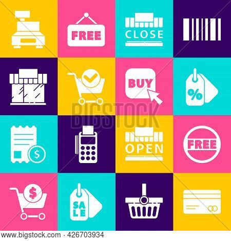 Set Credit Card, Price Tag With Free, Discount Percent, Shopping Building And Text Closed, Cart Chec