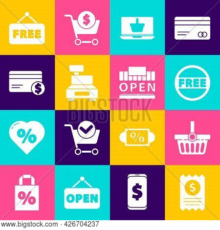 Set Paper Check And Financial Check, Shopping Basket, Price Tag With Free, On Laptop, Cash Register