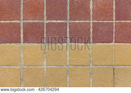 Brown Terra Cotta Floor Tiles Outside The Building Pattern And Background Seamless