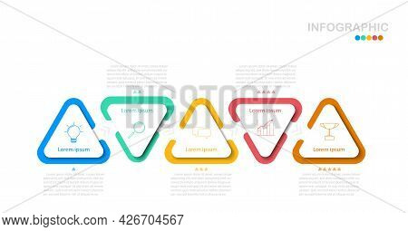 Triangle Step Infographic In Eps10 Vector (divided Into Layers In File), 5 Colors  Triangle For 5 St