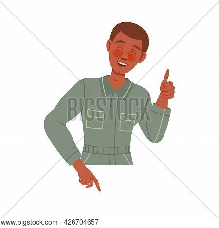 Smiling Male In Overall Showing Thumb Up As Positive Gesture Of Approval Vector Illustration