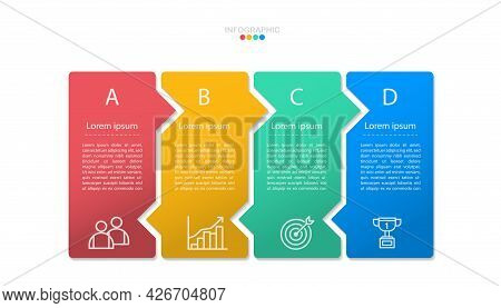 4 Options Infographic Banner.4 Step Timeline Vector With Business Line Icon.