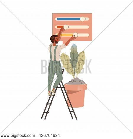 Man Photographer In Overall On Ladder Retouching Photograph With Color Swatch Vector Illustration