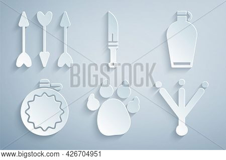 Set Paw Print, Canteen Water Bottle, Bird Footprint, Hunter Knife And Hipster Arrows Icon. Vector