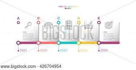 5 Options Timeline Infographic Vector, Yearly Working Process Diagram Witn Business Icon In Eps10 Ve