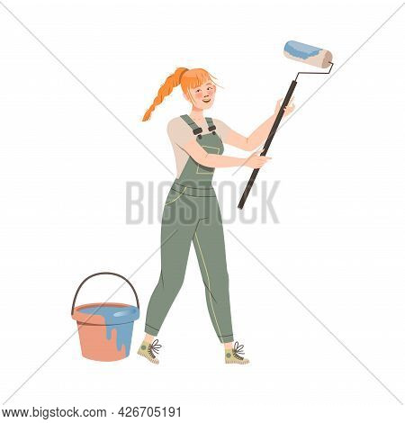 Redhead Female In Overall With Bucket With Paint Roller Vector Illustration