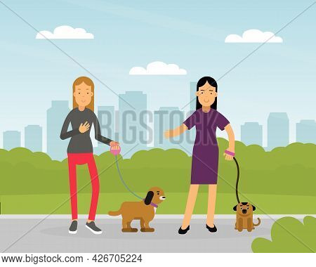 Young Woman Walking Pet Dog On Leash Vector Illustration