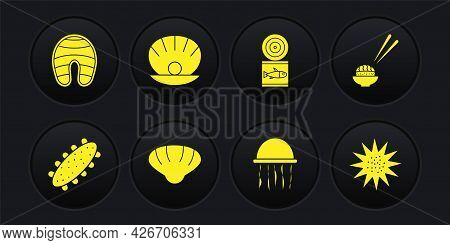 Set Sea Cucumber, Sushi, Scallop Sea Shell, Jellyfish, Canned, Shell With Pearl, Urchin And Fish Ste