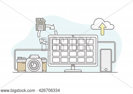 Photo Content Production With Camera And Photographic Material On Computer Screen Line Vector Illust