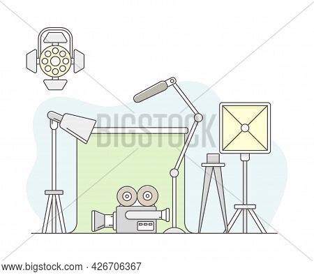 Video Content Footage Production In Filmmaking With Movie Camera And Soft Box With Backdrop Line Vec