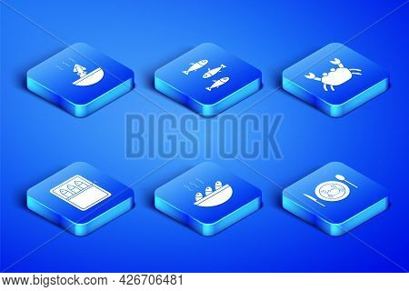 Set Served Crab On A Plate, Soup With Octopus, Fish Soup, Canned Fish, Fishes And Crab Icon. Vector