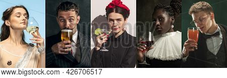 Medieval Men And Women As A Historical Persons In Vintage Clothing On Dark Background. Concept Of Co