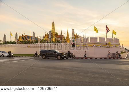 Bangkok,thailand - Oct 14,2019 : Street Traffic In Front Of Wat Phra Kaew (temple Of Emerald Buddha)