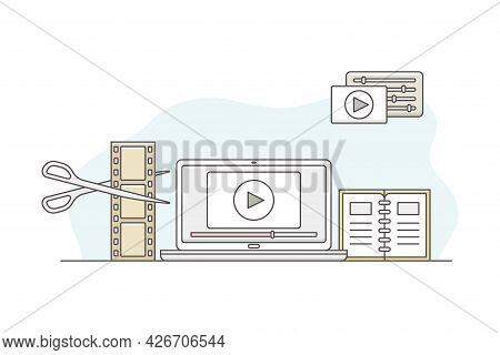 Video Content Footage Production In Filmmaking With Laptop And Postproduction Software Line Vector I