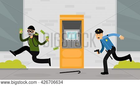 Man Police Officer Or Policeman With Truncheon Chasing Thief Escaping With Stolen Money Vector Illus