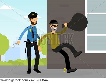 Man Police Officer Or Policeman With Truncheon And Handcuffs Arresting Criminal Or Thief Vector Illu