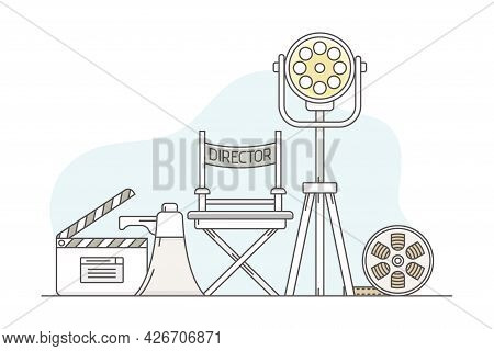 Video Content Footage Production In Filmmaking With Director Chair, Reel And Lapperboard Line Vector