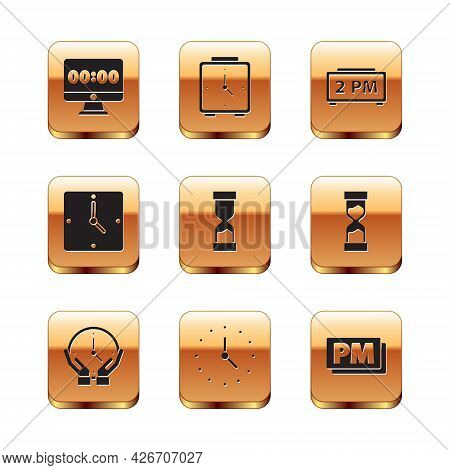 Set Clock On Monitor, Old Hourglass, Digital Alarm Clock, Pm And Alarm Icon. Vector
