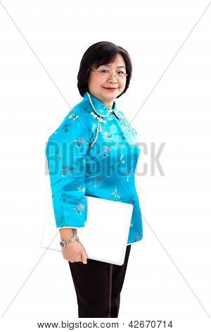 Chinese Woman Holdind A Laptop