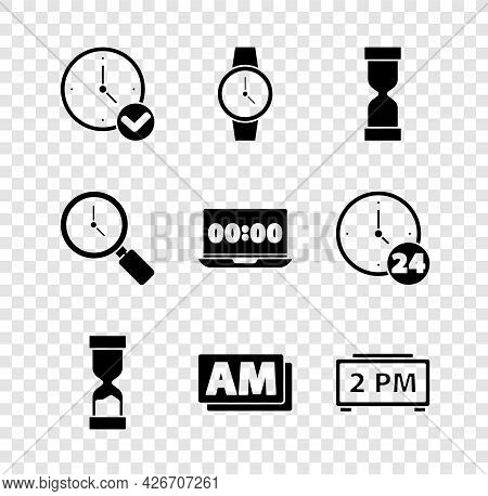 Set Clock, Wrist Watch, Old Hourglass, Am, Digital Alarm Clock, Magnifying With And On Laptop Icon.