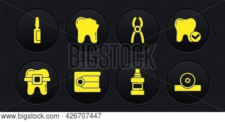 Set Teeth With Braces, Tooth Whitening Concept, Dentures Model, Mouthwash Bottle, Dental Pliers, Bro