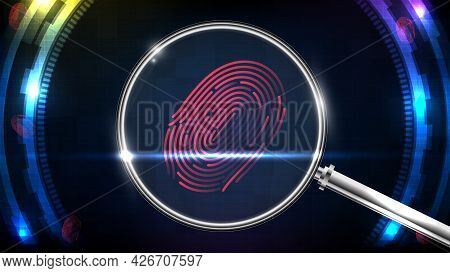 Abstract Of Futuristic Technology Confidential Investigation Fingerprint And Magnifying Glass