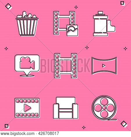 Set Popcorn In Box, Play Video, Camera Film Roll Cartridge, And Location, Online Play Video, And Cin