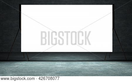 Presentation Board, Blank Whiteboard For Conference. Free Space For Advertising.projection Screen On