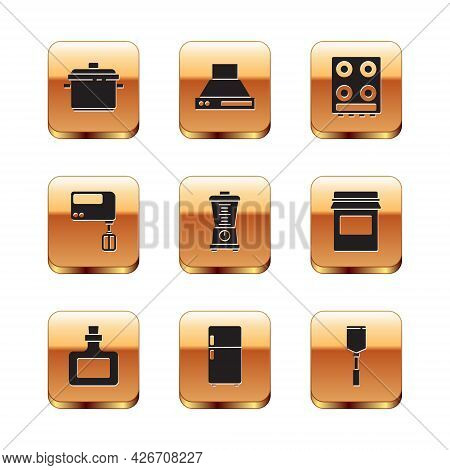 Set Cooking Pot, Sauce Bottle, Refrigerator, Blender, Electric Mixer, Gas Stove, Spatula And Kitchen