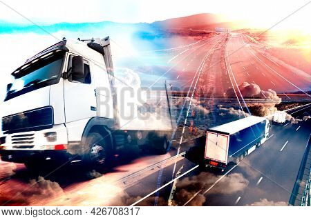 Abstract Background Trucks And Transport.highway And Delivering.lorry And Cars Driving On The Road.l