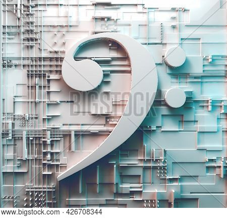 Music Concept Abstract Background.clef Key.technology And Trendy Music.3d Illustration.sound Enginee