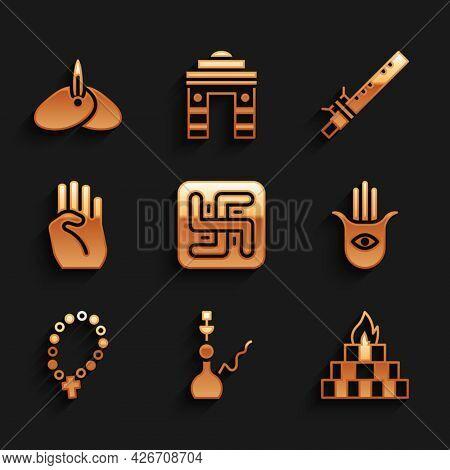 Set Hindu Swastika, Hookah, Yagna, Hamsa Hand, Rosary Beads Religion, Indian Symbol, Bamboo Flute In