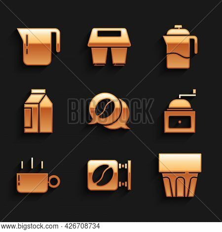 Set Coffee And Conversation, Street Signboard Coffee, Glass With Water, Manual Grinder, Cup, Bag Bea