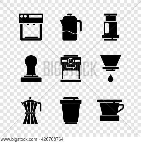 Set Coffee Machine, French Press, Aeropress Coffee, Moca Pot, Cup To Go, V60 Maker, Tamper And Icon.